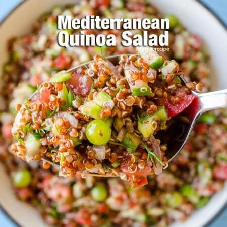 Mediterranean Quinoa Salad with unripe grapes. So nutritious and refreshing! The BEST salad that you can have as a meal. - giverecipe.com