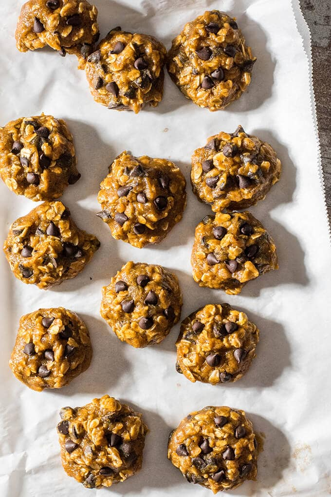 Pumpkin Oatmeal Chocolate Chip Cookies. Chewy, soft and moist. Packed with pumpkin flavor and chocolate chips. VEGAN too! - giverecipe.com