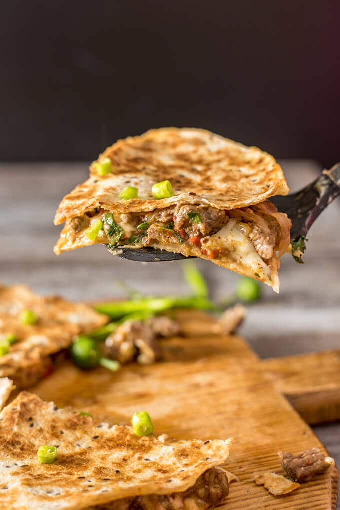 Spicy Beef Quesadillas make the best meal with leftover beef stir-fry. Ready in 10 minutes and disappear in seconds. - giverecipe.com