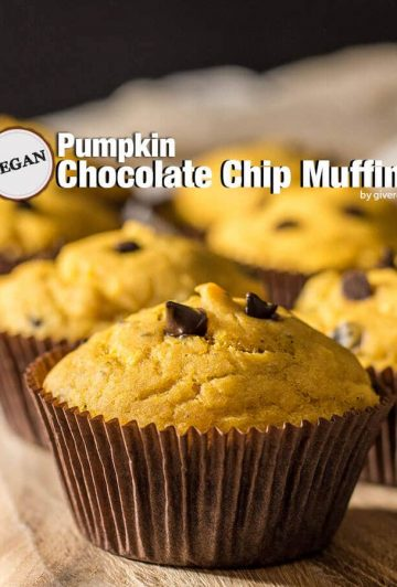 Vegan pumpkin chocolate chip muffins. Moist, fluffy and very easy to make. Just as good as the non-vegan ones. - giverecipe.com