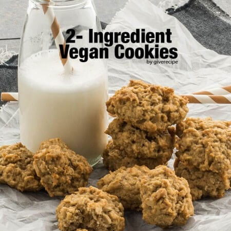 Is it possible to make cookies with 2 ingredients? YES! These are vegan, sugar-free and gluten-free yet SO GOOD! - giverecipe.com