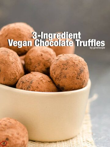 3 Ingredient Vegan Chocolate Truffles are the easiest holiday treats. Everyone will want to eat more after learning these are the healthiest treat too.- giverecipe.com