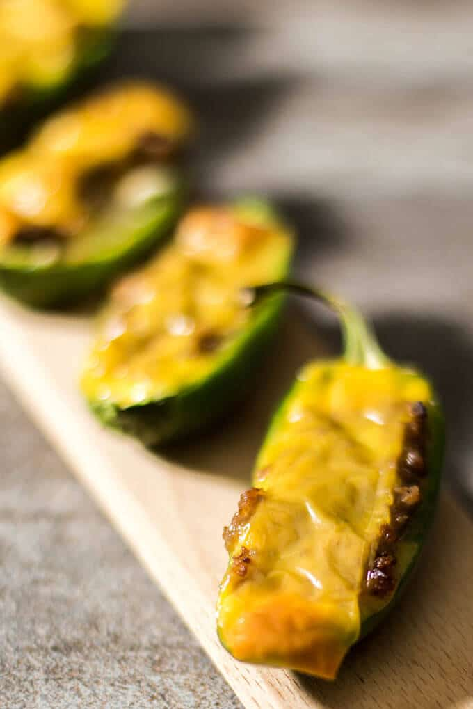 Jalapenos stuffed with cream cheese, beef and cheddar. These are FINGER LICKING GOOD! The best thing I've paired with beer so far indeed. - giverecipe.com