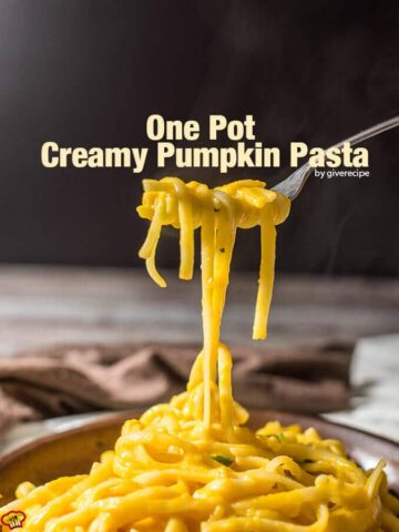 One Pot Creamy Pumpkin Pasta is a family favorite and ready in less than 20 minutes! No cream at all! Cheesy and with a subtle garlic flavor. - giverecipe.com
