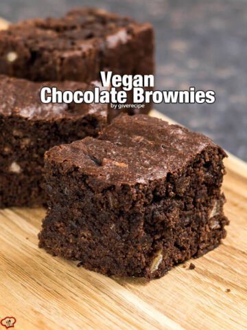 Vegan Chocolate Brownies. Vegan baking is no way boring! These are wonderfully chocolaty. Even the non-vegans should give it a try! Bake it until the toothpick inserted comes out with some pieces, not completely clean. - giverecipe.com