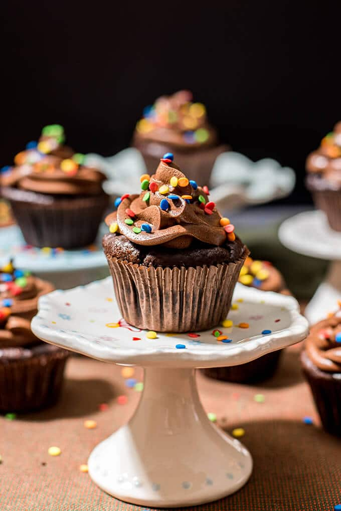 Double chocolate layer cake cupcakes