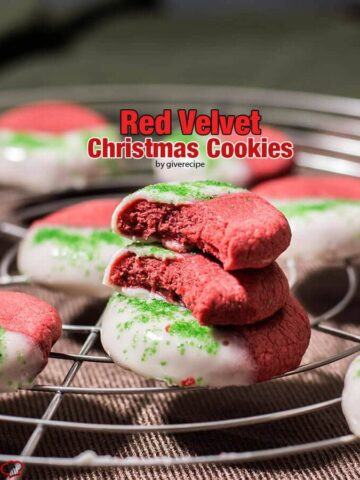 Red Velvet Christmas Cookies dipped into a cream cheese frosting. These are like bite-size cheesecakes. So easy to make. No need for chilling the dough!