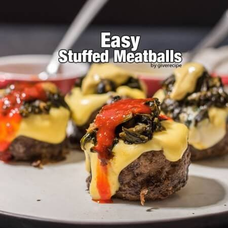 Easy Stuffed Meatballs. Don't need to worry about enclosing, just stuff them open-faced. Two fillings in this recipe; cheddar and cremy spinach. A game changer recipe!