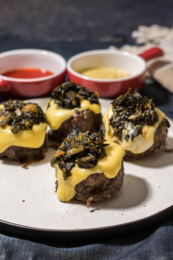 Easy Stuffed Meatballs. Don't need to worry about enclosing, just stuff them open-faced. Two fillings in this recipe; cheddar and creamy spinach. A game changer recipe!
