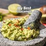 This is my best guacamole. You will love red chili pepper in it. Best game day treat ever!