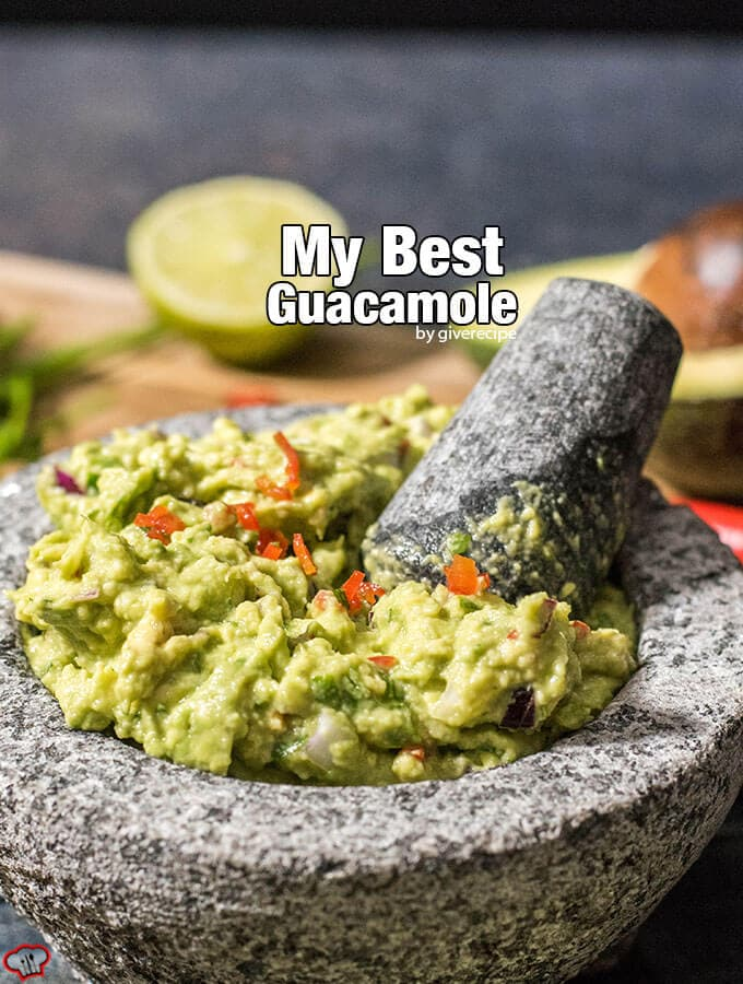 Spicy guacamole with chilies in a guac bowl