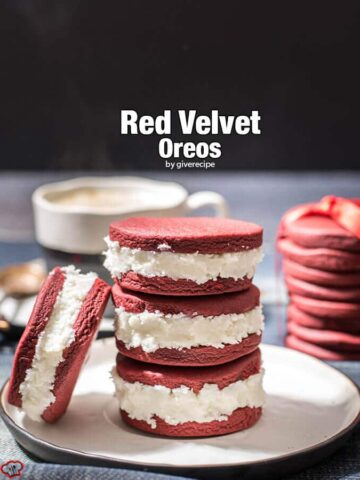Red Velvet Oreos. Chewy red velvet cookies are sandwiched with a cream cheese frosting. Perfect for any special day!