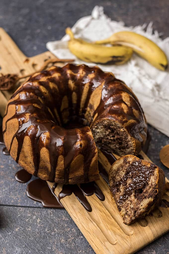 Chocolate Glazed Banana Bundt Cake with marbled inside. Not too sweet, not too wet. Just perfect! Even better the next day.
