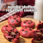 Nutella Stuffed Red Velvet Cookies. Chewy on the outside and gooey on the inside.