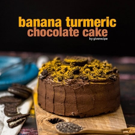 Banana Turmeric chocolate Cake with chia seeds and kefir. This is the super cake with super ingredients! Turmeric acts like natural sprinkles, you don't even feel the flavor.
