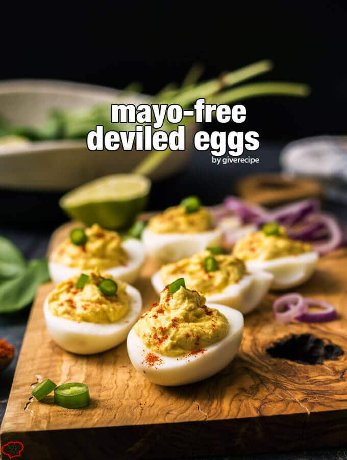 Mayo-Free Deviled Eggs. Creamy with Greek yogurt, slightly tangy with lime and mustard. Beyond scrumptious!