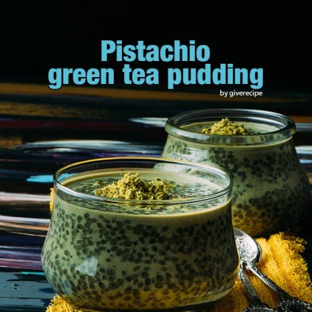 Chia pudding colored with green tea powder and flavored with pistachio and brown sugar. A perfect breakfast or dessert with superfoods!