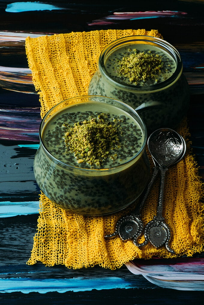 Green Tea Chia Pudding. Colored with green tea powder and flavored with pistachio and brown sugar. A perfect breakfast or dessert with superfoods!