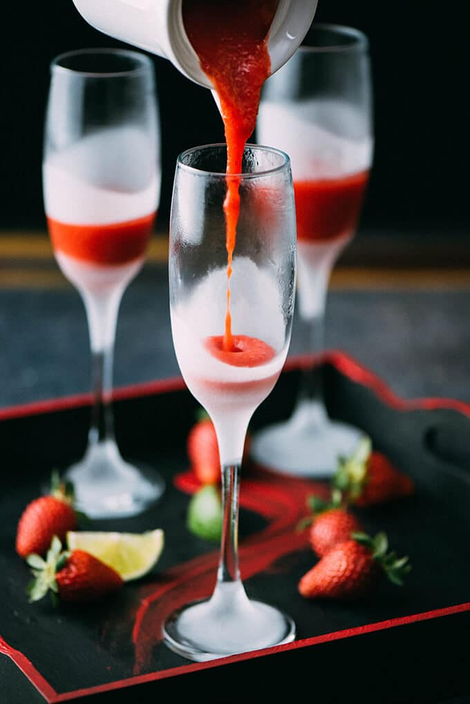 Strawberry lime champagne give recipe for Champagne mixed drinks