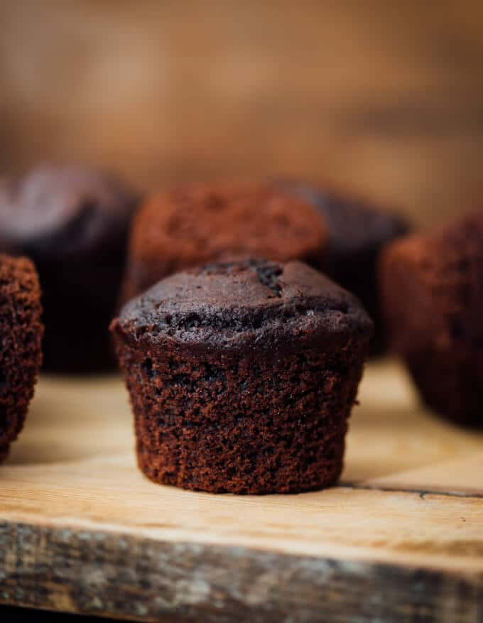 Buttermilk Chocolate Muffins on a wooden board