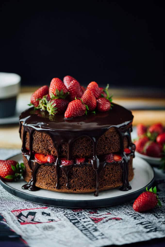 Chocolate cake with strawberry and chocolate ganache