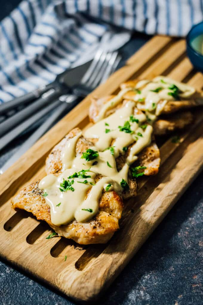 Chicken with Creamy Mustard Sauce is a delectable yet simple chicken recipe that you can make on weekdays or for your dinner parties. Wonderfully juicy and finger lickin' good with the mustard sauce on it. #sponsored