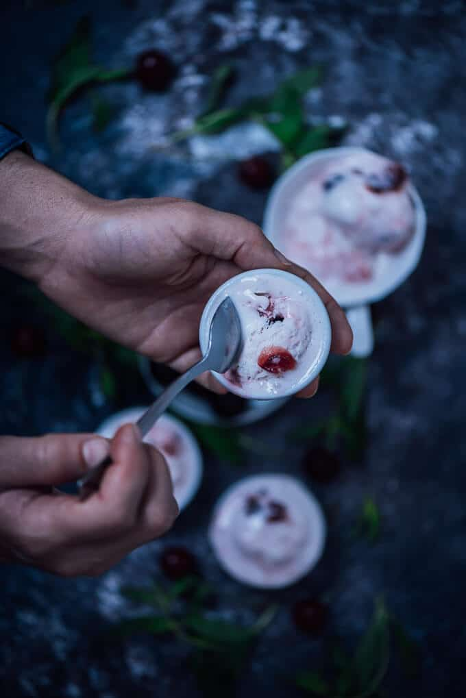 This No-Churn Fresh Cherry Ice Cream is a perfect summer desert and super simple to make. A basic vanilla ice cream is enriched with fresh cherries and turns into a new recipe that is slightly tangy and chunky.