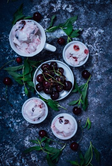 No-Churn Fresh Cherry Ice Cream
