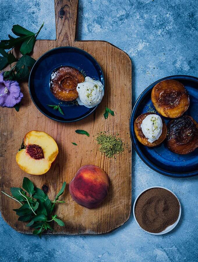 Cinnamon Sugar Grilled Peaches are for those who don't feel like baking. Simply grill the cinnamon sugar coated peaches and serve with ice cream. You will be amazed with the taste when you have the first bite! Ready in 10 minutes!