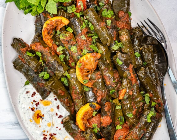 Stuffed grape leaves yaprak sarma with tomato sauce and lemon wedges on the top served on a white oval plate.