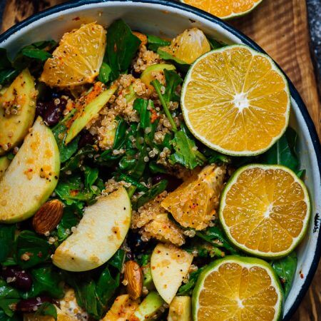 Black Bean Quinoa Salad with Apple and Orange is a perfect side dish to accompany fall dinners. This power salad is definitely an immune system booster with the help of all ingredients and its super healthy orange dressing.
