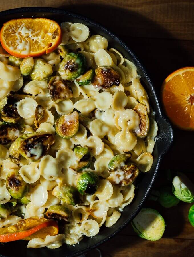 Cheesy Citrusy Brussels Sprouts Pasta is my new favorite pasta recipe. This is a creamy and comforting pasta with caramelized brussels sprouts flavored with orange. Kids will ask for more!