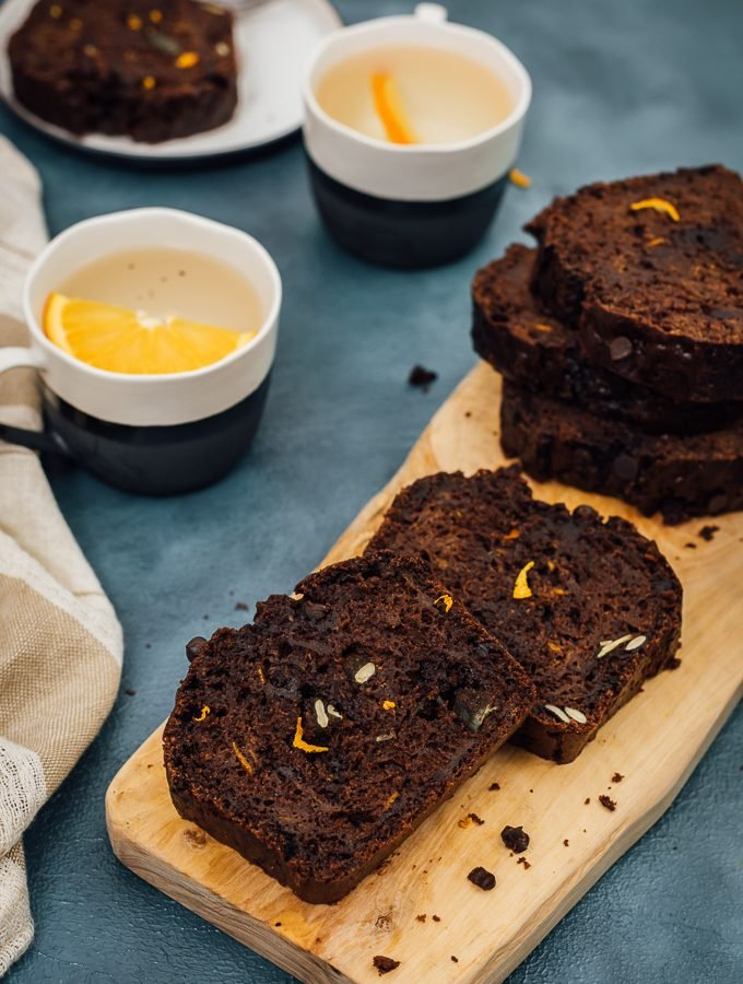 This is an orange flavored chocolate bread with shredded fresh pumpkin, pumpkin seeds and chocolate chips. A one-bowl bread that is a real winner for holidays!