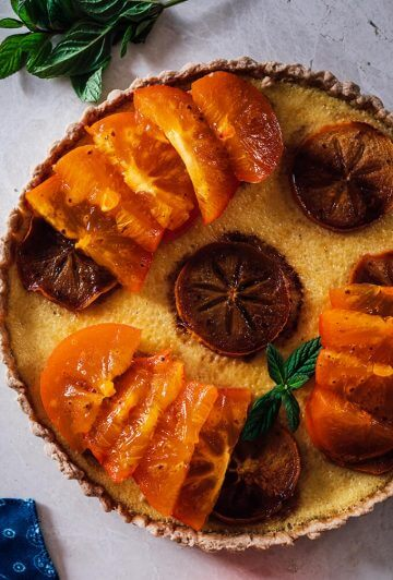 Persimmon Kefir Tart is a perfect fall dessert that you can serve after your holiday meals. The kefir filling gives you a feeling of cheesecake and custard combination. Creamy, tasty and super light, this has become my ultimate tart filling.