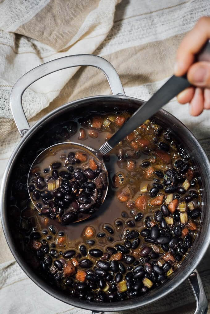 Spicy Black Bean Soup is really satisfying on its own, so you don't need anything else for dinner. #ad