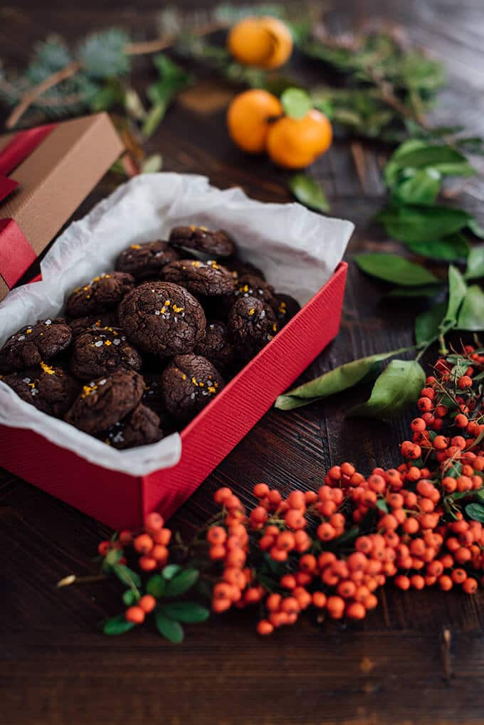 Molten Chocolate Citrus Cookies with melted chocolate and mandarin zest. Packed in a red gift box.