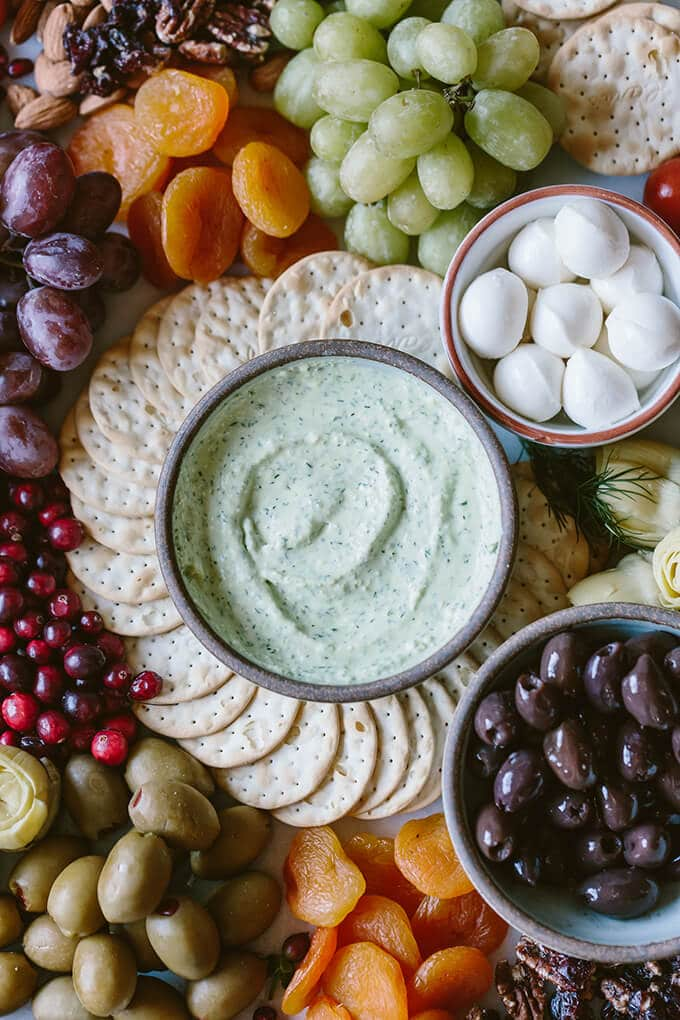 Whipped Feta with Herbs is a super quick dip that you can serve as an appetizer at holiday parties. Everyone will compete with each other to dip crackers into this scrumptious dip. #ad
