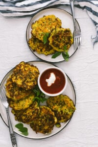 Leek Fritters with Carrot and Turmeric