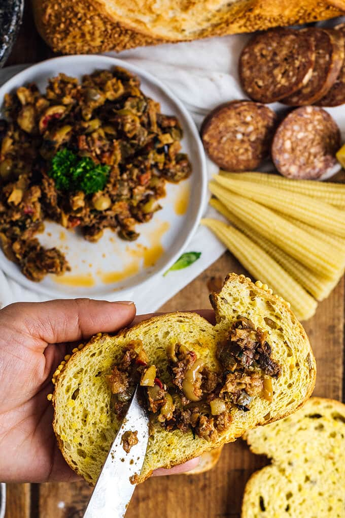 Sun-Dried Tomato Tapenade is a perfect combination of sweet, hot and tangy flavors. This makes a flavorsome spread as an appetizer on bread slices or in sandwiches.