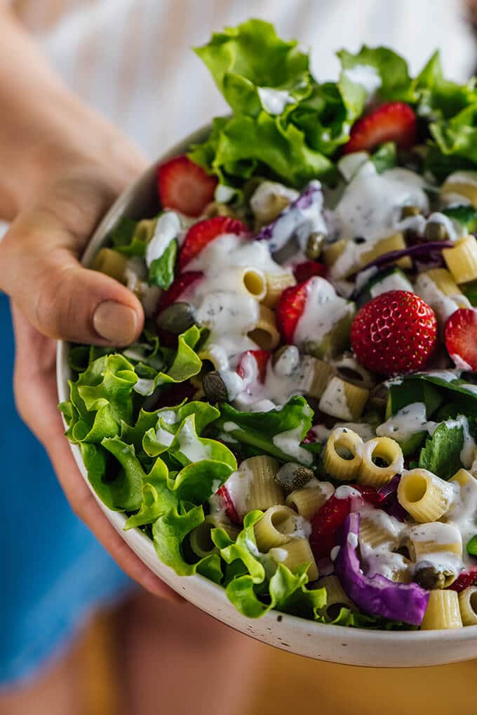 Strawberry Pasta Salad with homemade yogurt dressing will satisfy all your taste buds. You won't miss mayonnaise in this pasta salad!