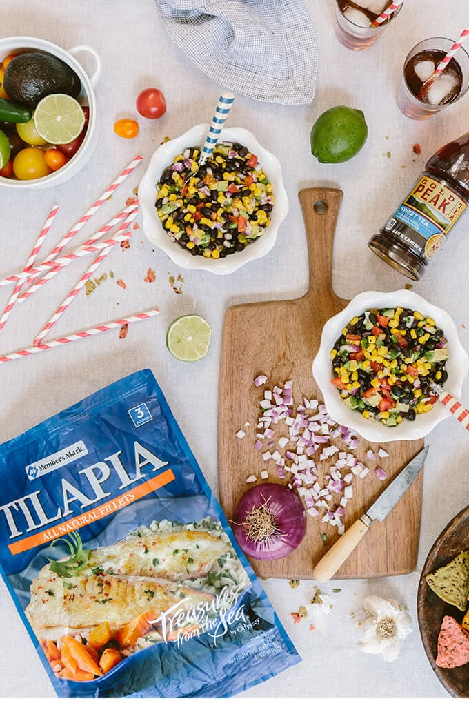 Healthy Baked Tilapia with Black Bean Salsa is a flavorful, quick and effortless recipe that is perfect both for busy weeknights and for summer occasions. #ad