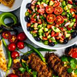 Chopped Turkish Salad aka shepherd's salad is packed with fresh summer flavors and Middle East spices. It is ready in 5 minutes and disappears that fast on a kebab platter.