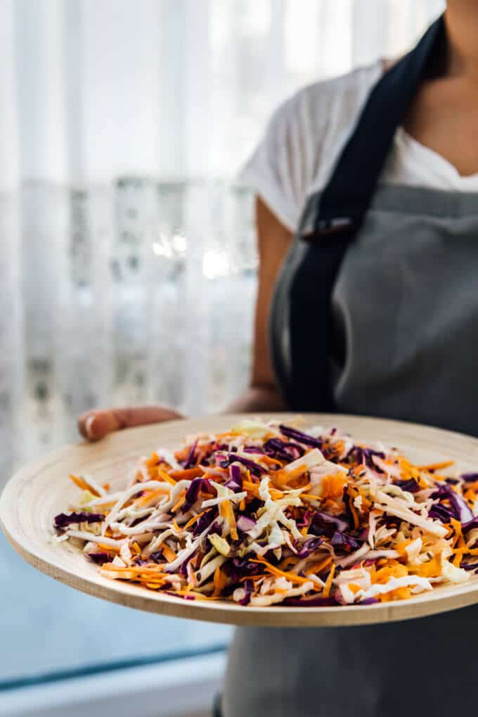Coleslaw without Mayo is the perfect combination of some humble dairy-free and vegan ingredients.