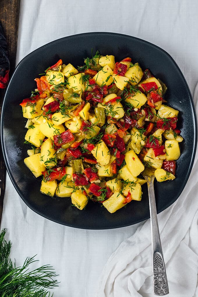 This tangy Roasted Pepper Potato Salad without Mayo is so good that it is a big hit at barbecues and summer picnics. You won't miss your classic recipe once you taste this one.
