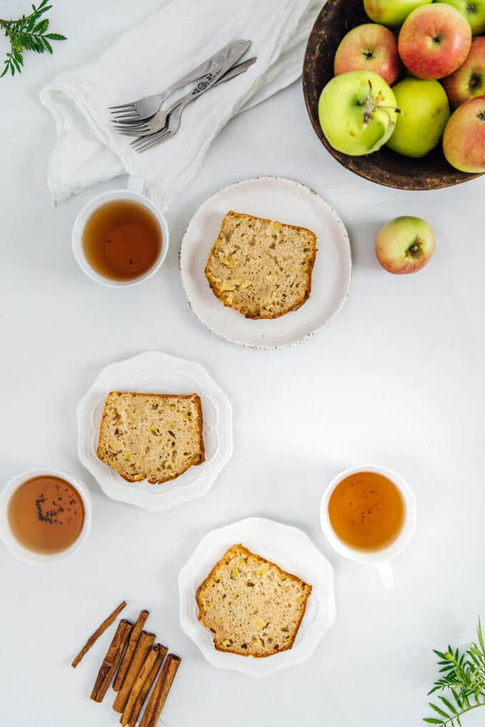 Apple Cinnamon Bread is a not-too-sweet bread that is loaded with apple chunks and flavored with fall spices. Our house smells mesmerizing when it's baking.