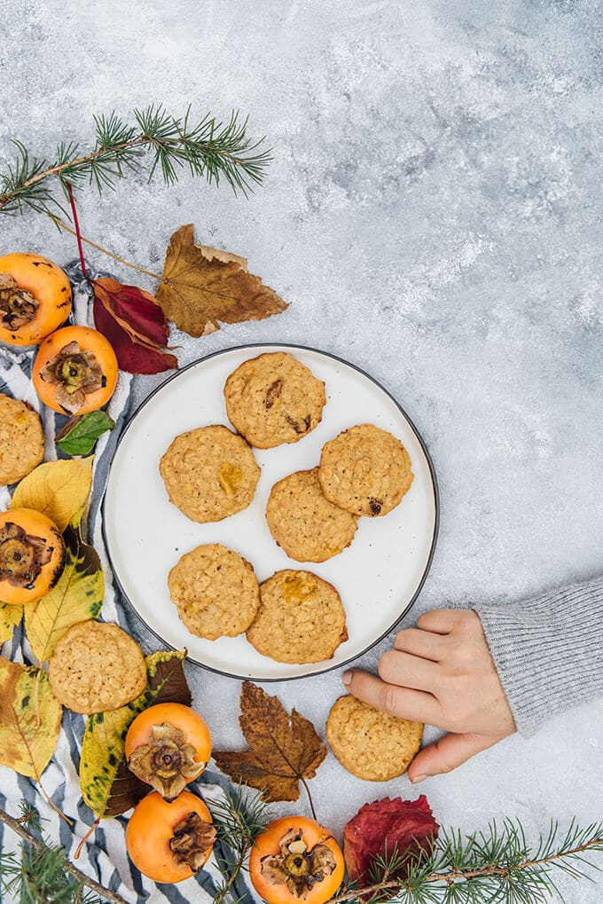 Soft, chewy and moist persimmon cookies. Make perfect on-the-go breakfast!