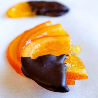 Orange slices dipped into chocolate
