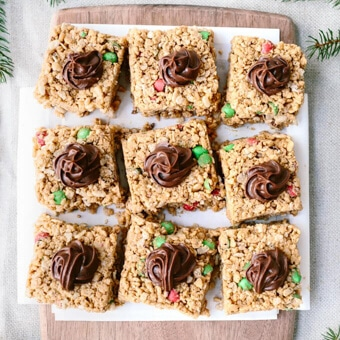 Peanut butter rice krispies with a simple chocolate frosting