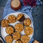These Banana Nut Muffins are soft, moist and bursting with banana flavor. Crumbled walnuts inside and on the top give these a nice crunch. Made with kefir and without refined sugar, they are healthy too.