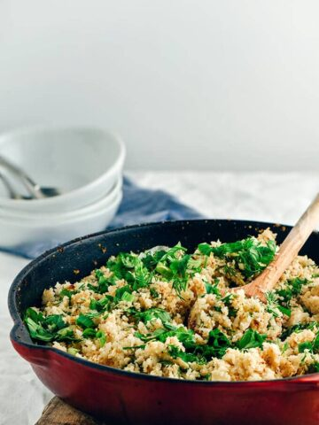 Herbed Cauliflower Rice Stir Fry is a healthy and delicious low-carb side dish. Ready in 15 minutes!